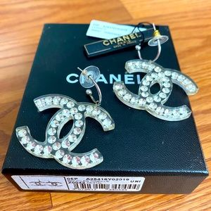 Auth. RARE CHANEL Large Logo Crystal earrings 05P